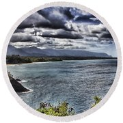 Hawaii Big Island Coastline V2 Round Beach Towel