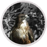 Hawk Of Prey Round Beach Towel