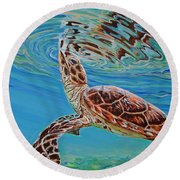 Green Turtle Round Beach Towel