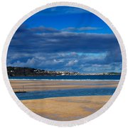 Hayle Estuary Cornwall Round Beach Towel