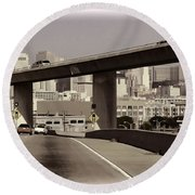 Heading Into The Busy Part Of San Francisco Round Beach Towel