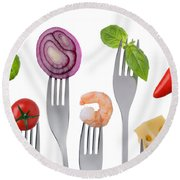 Healthy Balanced Food On White Round Beach Towel
