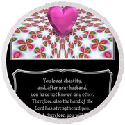 Heart And Love Design 16 With Bible Quote Round Beach Towel