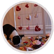 Hearts On The Line Round Beach Towel