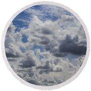 Heavenly Clouds Round Beach Towel
