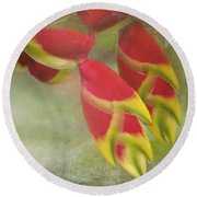 Heliconia Rostrata Round Beach Towel