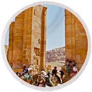 Hellenistic Gateway In Petra-jordan  Round Beach Towel