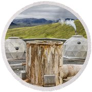 Hellisheidi Power Station Well Round Beach Towel