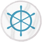 Helm In White And Turquoise Blue Round Beach Towel