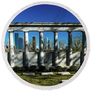 High Rise Buildings In Houston Round Beach Towel