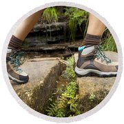 Hiking Boots Round Beach Towel