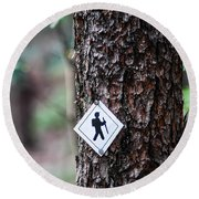 Hiking Trail Sign On The Forest Paths Round Beach Towel