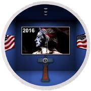 Hillary 2016 Round Beach Towel by Marvin Blaine