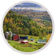 Hillside Acres Farm Round Beach Towel