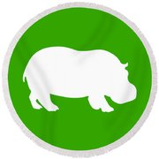 Hippo In Green And White Round Beach Towel