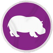 Hippo In Purple And White Round Beach Towel