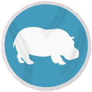 Hippo In White And Turquoise Round Beach Towel