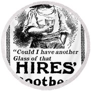Hires' Root Beer Ad, 1895 Round Beach Towel