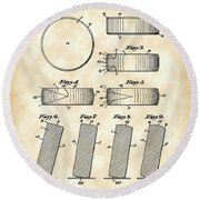 Hockey Puck Patent 1940 - Vintage Round Beach Towel