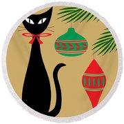 Holiday Cat Round Beach Towel