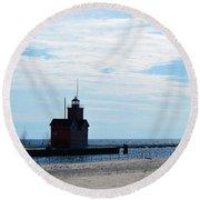 Holland Lighthouse Round Beach Towel