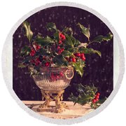 Holly And Berries Round Beach Towel