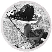 Holster  Brief Case  Baby Carriage Tombstone Arizona 1970 Round Beach Towel