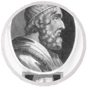 Homer, Ancient Greek Epic Poet Round Beach Towel by Photo Researchers