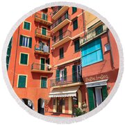 homes and promenade in Camogli Round Beach Towel