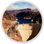 Hoover Dam Nevada Round Beach Towel