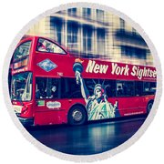 hop on hop off  through NYC Round Beach Towel