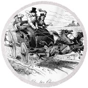 Horse-drawn Carriage Round Beach Towel