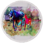 Horses Of Different Colors Round Beach Towel
