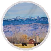 Hot Air Balloon Rocky Mountain County View Round Beach Towel