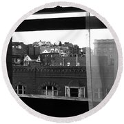 Hotel Window Butte Montana 1979 Round Beach Towel