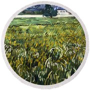 House At Auvers Round Beach Towel