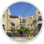 Houses In Jaffa Tel Aviv Israel Round Beach Towel
