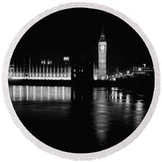 Houses Of Parliament And Big Ben Round Beach Towel