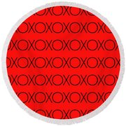 Hugs And Kisses Round Beach Towel