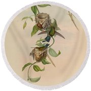 Hummingbirds Round Beach Towel
