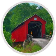 Hune Covered Bridge Round Beach Towel
