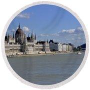 Hungarian Parliament Building  Round Beach Towel