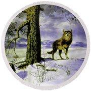 Hunting Wolf Round Beach Towel