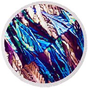 Hydroquinone Crystals In Polarized Light Round Beach Towel