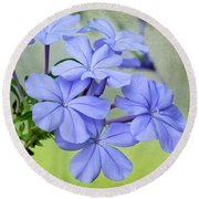 I Love Blue Flowers Round Beach Towel