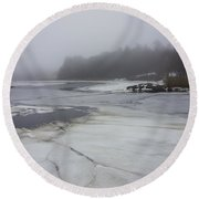 Ice And Fog And The Ipswich River Round Beach Towel