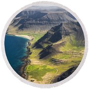Iceland Plateau Mountains Round Beach Towel