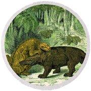Iguanodon Biting Megalosaurus Round Beach Towel