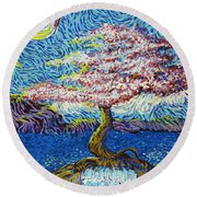 In The Flow Of Life Round Beach Towel