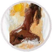 In The Heat Of The Sun Round Beach Towel